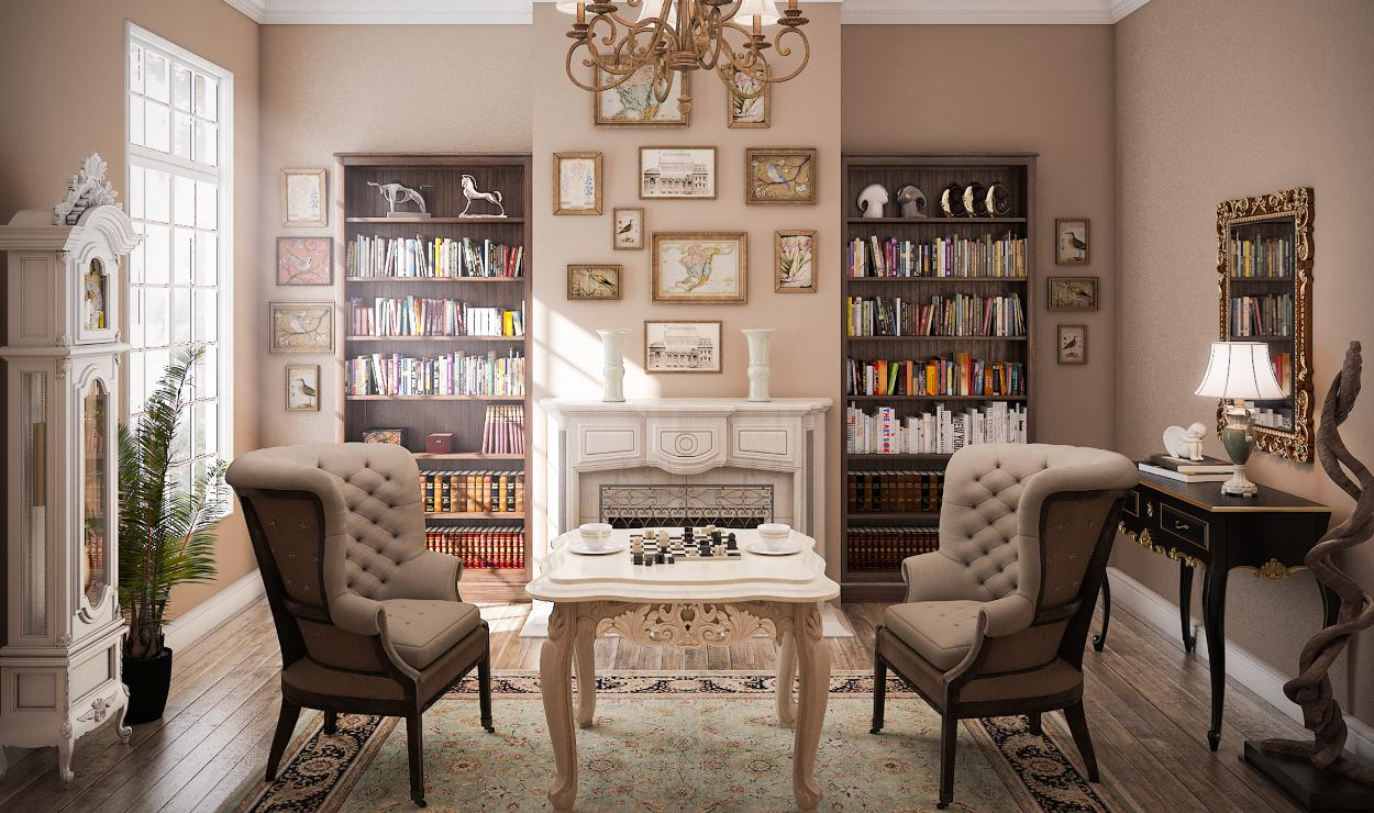 Стиль классицизм в интерьере, кабинет